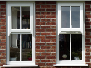2 White UPVC Faux Sash Windows