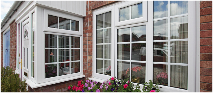 WHite UPVC DOuble Glazing With Georgian Bars